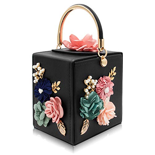 Milisente Evening Clutch Bag for Women Floral Square Box Evening Bags Crossbody Shoulder handBags Flower Wedding Clutch Purse (Black)