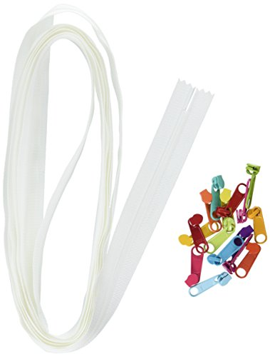 - ByAnnie Zippers by Yard, White with Multicolored Pulls