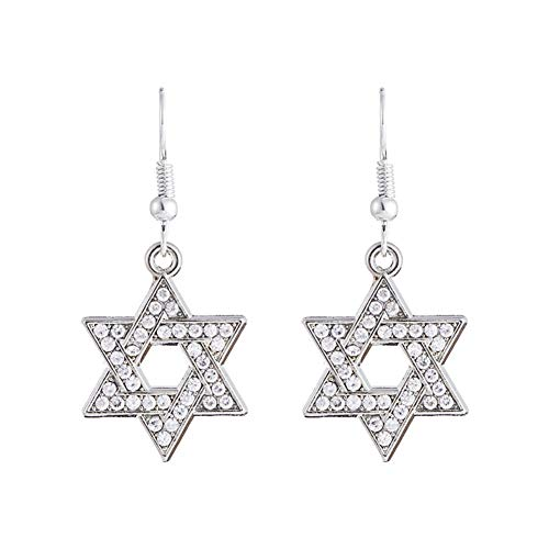 MIXIA Vintage Hexagram Star of David Drop Dangle Earring for Woman 12 Tribes of Israel Gift Wicca Round Ethnic Jewelry (Crystal)