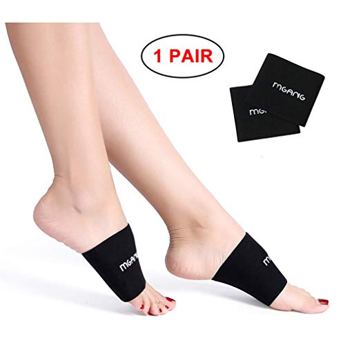 MGANG Compression Arch Sleeves, Best Plantar Fasciitis Sleeves for Men & Women, Arch Support Brace for Plantar Fasciitis, Pain Relief, Heel Spurs, Foot Pain, Flat Arches, Daily Wear, 1PAIR Black M