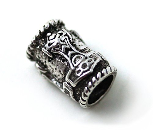 (LynnAround 925 Sterling Silver Norse Thors Hammer Beard Beads Rings, Dreadlock Viking Pirate Hair, Pagan Jewelry)