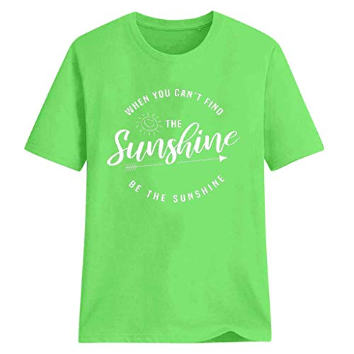 TANLANG☀Women Summer Fashion Tunics Letter Print Short Sleeve Top Casual The Sunshine Printed Shirts Round Neck Blouse Tops -
