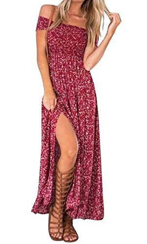 Walant Women Summer Boho Off Shoulder Long Maxi Casual Dress Slit Split RedSmallRed (Beach Clothing For Women compare prices)