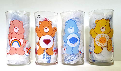 Vintage Pizza Hut Care Bear Collectible Drinking Glasses Tumblers - Set of 4