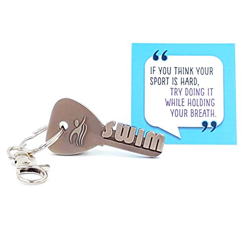 key2Bme SWIM key - swimmer keychain & inspirational quote - the cute cool fun unique small gift under 10 for giving swimming team coach girl boy kid teen women men him her water pool ()