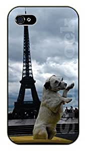 iPhone 4S Hipster dog in Paris, Eiffel tower - black plastic case / dog, animals, dogs