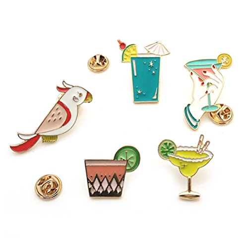 Maggie Cute Parrot Birds Summer Drink Metal Brooch Pins,Button Pins,5 Pieces