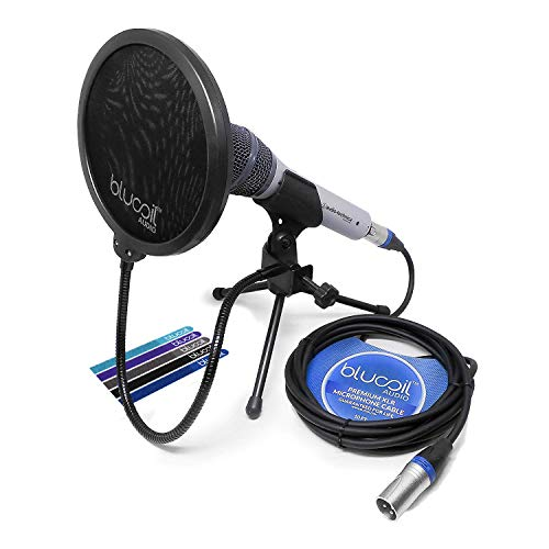 Audio-Technica ATR2100-USB Handheld Cardioid Dynamic USB and XLR Microphone -INCLUDES- Blucoil Pop Filter AND 10 foot XLR Cable WITH 5 Pack Cable Ties