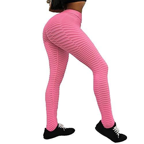 (Active Pants for Womens Myoumobi_ Women Ruched Butt Lifting Textured Booty Tights Workout Running Butt Lift Tights Pink)