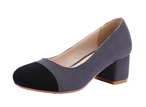 VogueZone009 Women's Round Closed Toe Kitten-Heels Pull-On Pumps-Shoes Gray 5psLDw