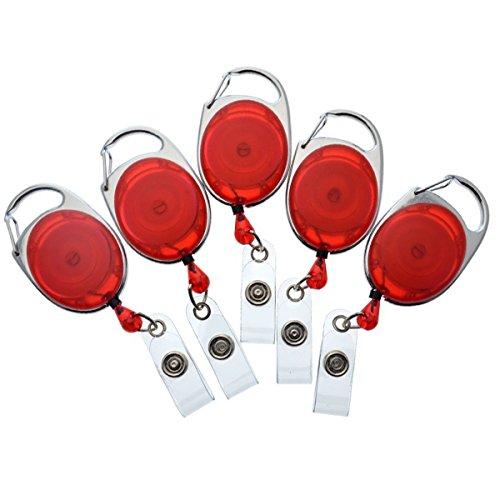 (Bulk 100 Pack - Specialist ID Premium Carabiner Clip Badge Reels - Retractable I.D. Card Holders (Red))