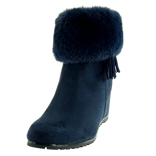 Fringe Women's cm Pom Blue Fashion Wedge Ankle Fur Fancy 5 Shoes Boots Chic Booty Cavalier Angkorly 6 Pom Fg7Sxdvwqg