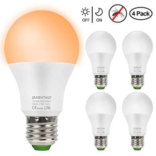 - LED Bug Light Bulb Dusk to Dawn 7W LED Light Bulb, 50 Watt Equivalent Light Sensor Bulb, Auto on/Off E26/E27 Sensor Light Security Bulb with Photosensor Detection (1700K Orange,4-Pack)