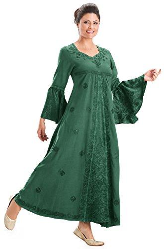 [HolyClothing Liana Princess Neck Renaissance Medieval A-Line Dress - 2X-Large - Jade Green] (Green Medieval Dress)