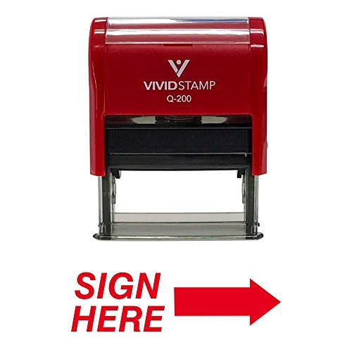 Sign HERE Self Inking Rubber Stamp (Red Ink) - Medium ()