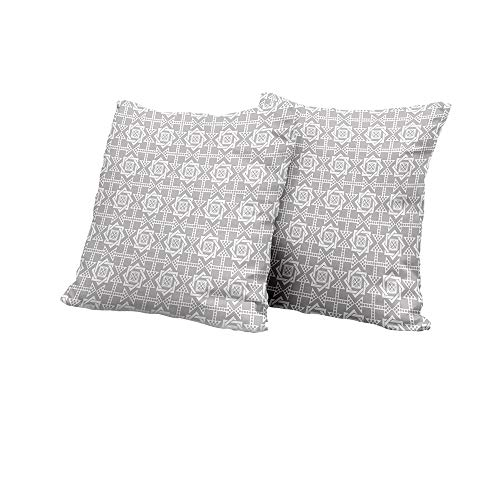 (All of better Body Pillowcase Geometric,Abstract Repeating Pattern with Floral Squares Frames and Dotted Arrows Motifs,Silver White Square Euro Sham Cushion Cover 16x16 INCH)