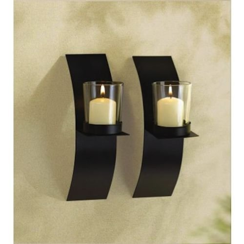2 SMALL Sconce 8'' Candle Holder Wall Plaque Decor- Set