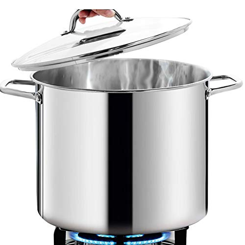 HOMICHEF Nickel Free Stainless Steel Stock Pot 12 Quart with Lid - Mirror Polished Stockpot 12 Quart with Lid - HEALTHY COOKWARE Stockpots 12 Quart - Soup Pot 12 Qt Cooking Pot Induction Pot With Lid