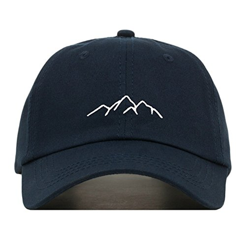 Mountains Dad Hat, Embroidered Baseball Cap, 100% Cotton, Unstructured Low Profile, Adjustable Strap Back, 6 Panel, One Size Fits Most (Multiple Colors) (Navy) ()