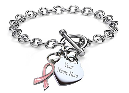 Pink Ribbon Toggle Bracelet (Personalized Charm Bracelet Detachable Cancer Survivor Ribbon Heart Toggle Chain Stainless Steel 7.5'