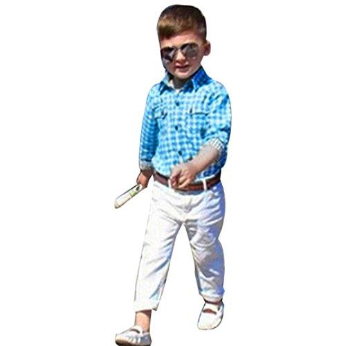 Photno 1Set Suit Outfit Kids Toddler Boys Long Sleeve T-Shirt Tops+Trousers Pants+Belt (2-8T)