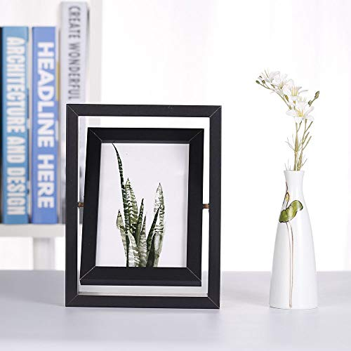 4x6 Inch Photo Frame, Solid Wood Double Vertical Picture Frames, with High Definition Acrylic Front, 180