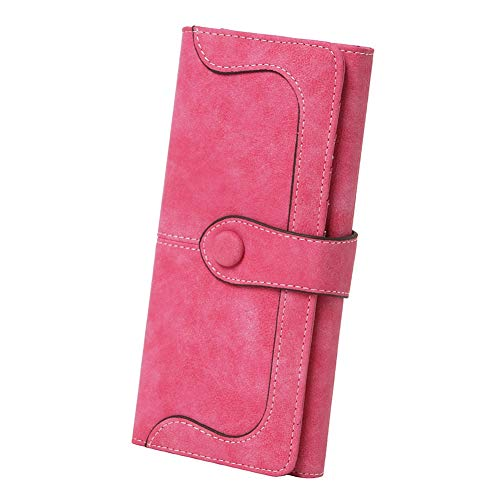 - Women's Vegan Leather 17 Card Slots Card Holder Long Big Bifold Wallet,Rose