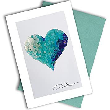 Single Aqua Sea Glass Heart Note Card 3x5 Blank Card