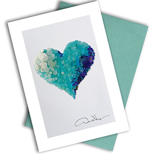 Single Aqua Sea Glass Heart Note Card. 3x5 Blank Card with Classy Envelope. Best Birthday Cards, Thank You Notes & Invitations. Unique Christmas, Mother