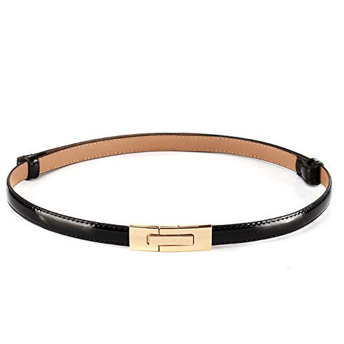 Black Thin Buckles - MoYoTo Womens Stylish Gold Sliver Skinny Thin Patent Leather Waist Belts, Black, One Size (size Width/1.4cm; Length/95cm)