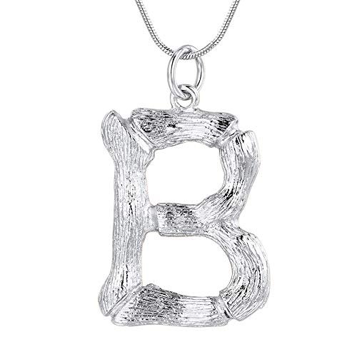 FOCALOOK Letter Initial Pendant Necklace Women Stainless Steel Platinum Plated Snake Chain Alphabet Jewelry B Necklace by FOCALOOK