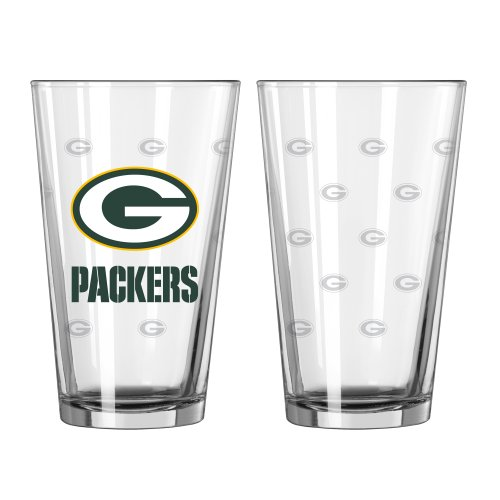 NFL Green Bay Packers Satin Etch Pint, 16-ounce, 2-Pack