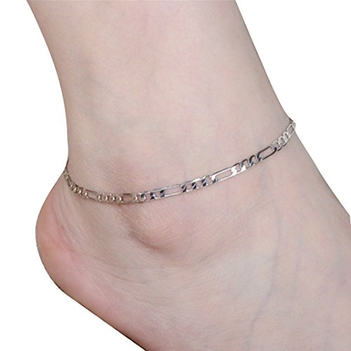 Bolayu Women Lady Simple Fashion Gold Anklet Metal Chain Anklets (Silver)