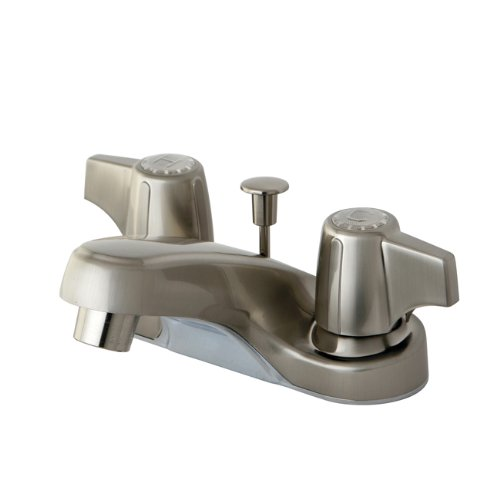 Kingston Brass Kb160Sn Twin Canopy Handles 4-Inch Centerset Faucet With Pop-Up Drain, Satin Nickel