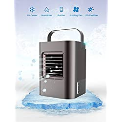 Portable Air Conditioner, Portable Air Cooler, The Quick & Easy Way to Cool Any Space, As Seen On Tv, Suitable for Bedside, Office and Study Room.Three Wind Level Adjustment (Grey)