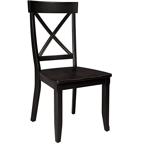 Dining Chairs, Black Finish, Set of 2 (Cross Back Chair)