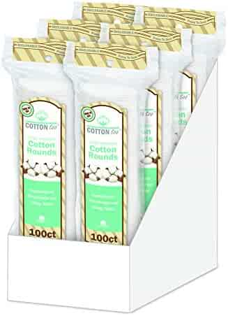 Cotton Too 100 Count Cotton Cosmetic Rounds, Premium, 6 Pack