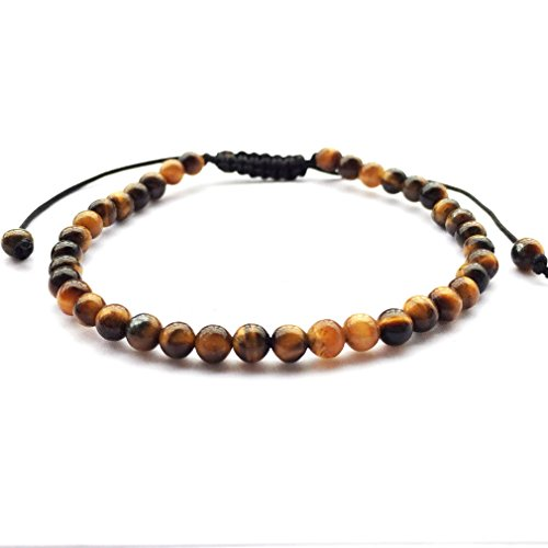 Tiger Brown Bracelet - DOLON Braided 4mm Brown Yellow Tiger Eye Stone Beaded Mens Bracelet