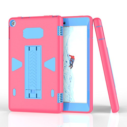 AICEDA Amazon Fire HD 8 Case, Thin Slim Back Shell Full Lens Protection Girls Soft Case Back Cover for Amazon Fire HD 8 - Hot Pink + Blue