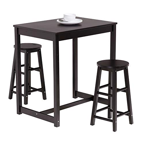 Mecor 3-Peice Pub Table Set, Wood Dining Breakfast Table Set with 2 Counter Stools for Home Kitchen Breakfast Furniture(Black)