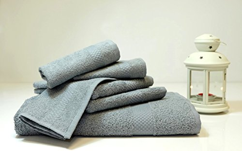Lint Free 4 Piece Turkish Hand Towel Set Clearance Prime Kitchen Bathroom (Bulk Pack of 4) 450 GSM Quick Dry Off Premium Cotton, Spa Hotel Quality Luxury Reserve Designer 2018 Collection Bundle Gray
