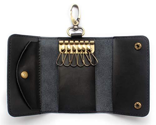 Mens Key Wallet Case - Fuinloth Leather Key Case Holder Wallet for Women with 6 Hook Card Slot Car Key Chain Black
