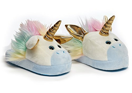 Stompeez Animated Unicorn Plush Slippers - Ultra Soft and Fuzzy - Ears Flap as You Walk - by