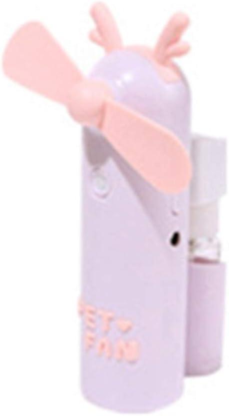 schicj133mm Portable Cute Rabbit Cat Bear Ear Shape Electric Rechargeable Fan ,Small Cooling Fan, Mini Handy USB Mist Fan for Home Office Outdoor Travel Purple Deer Ear