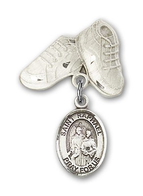 Sterling Silver Baby Badge with St. Raphael the Archangel Charm and Baby Boots Pin