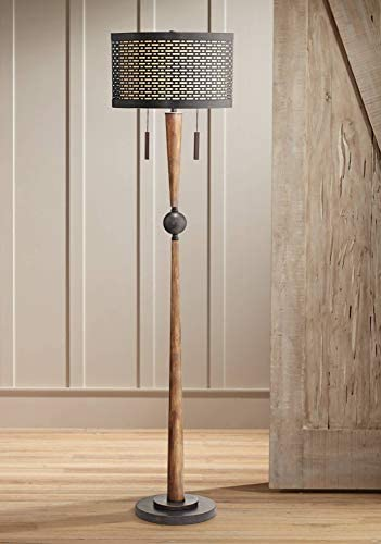 Hunter Mid Century Modern Floor Lamp Cherry Wood Perforated Metal Cream Linen Double Shade for Living Room Bedroom – Franklin Iron Works
