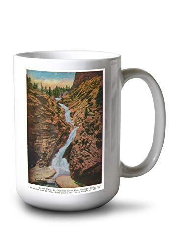 Lantern Press Colorado Springs, Colorado - View of Seven Falls, South Cheyenne Canyon (15oz White Ceramic -
