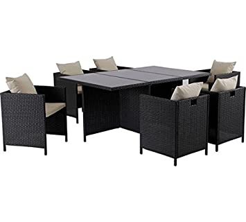 Hand Woven Rattan Effect Cube 6 Seater Patio Set   Black.