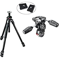 Manfrotto MK290XTA3-3WUS 290 Xtra Aluminum Tripod with 804 3-Way Pan/Tilt Head with Two Replacement Quick Release Plates for the RC2 Rapid Connect Adapter