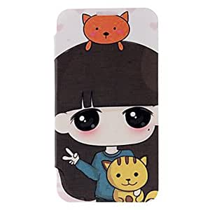 Girl and Cat Pattern Leather Hard Case for Samsung Galaxy Note 2 N7100